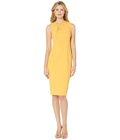 Donna Morgan Sleeveless Crepe Sheath Dress (Mimosa Yellow) Women