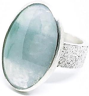 Grande ed elegante anello in argento sterling con preziosa Giadeite (Giada) di 13,35 carati (24 mm x 15 mm). Anello.