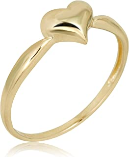 10K Yellow Gold Polished Puffed Heart Ring