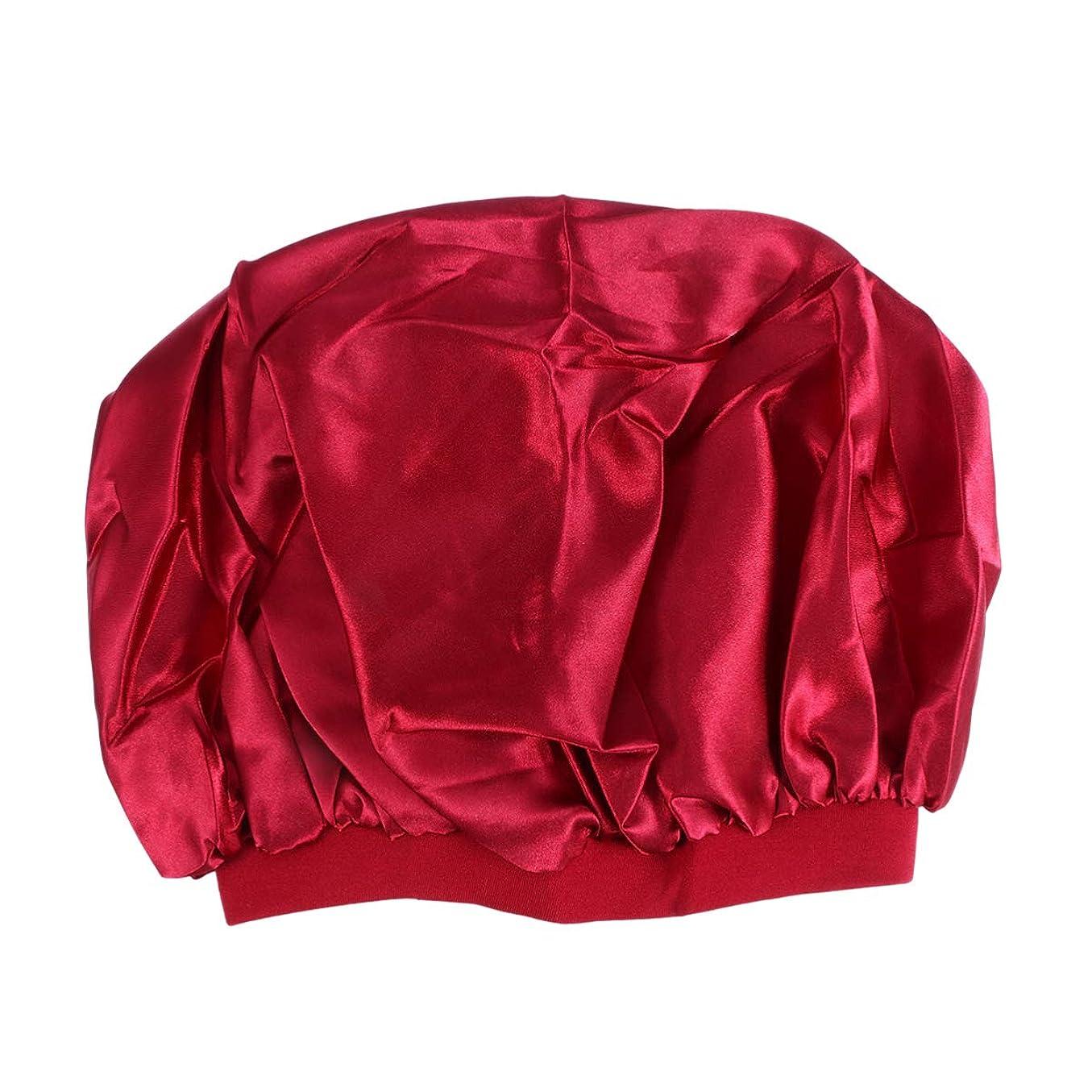 オーバーコートホストチャールズキージングHEALLILY 睡眠シャワー入浴用のシンプルで実用的な大きなサイズのラウンドキャップ弾性スリープキャップを寝ている??女性(黒)