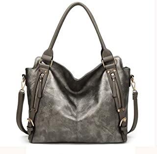 Women's square bag, pu handbag, must-have shoulder bag out of the street, large-capacity crossbody bag, adjustable shoulder strap, a variety of colors (Color : Gray, Size : One size)