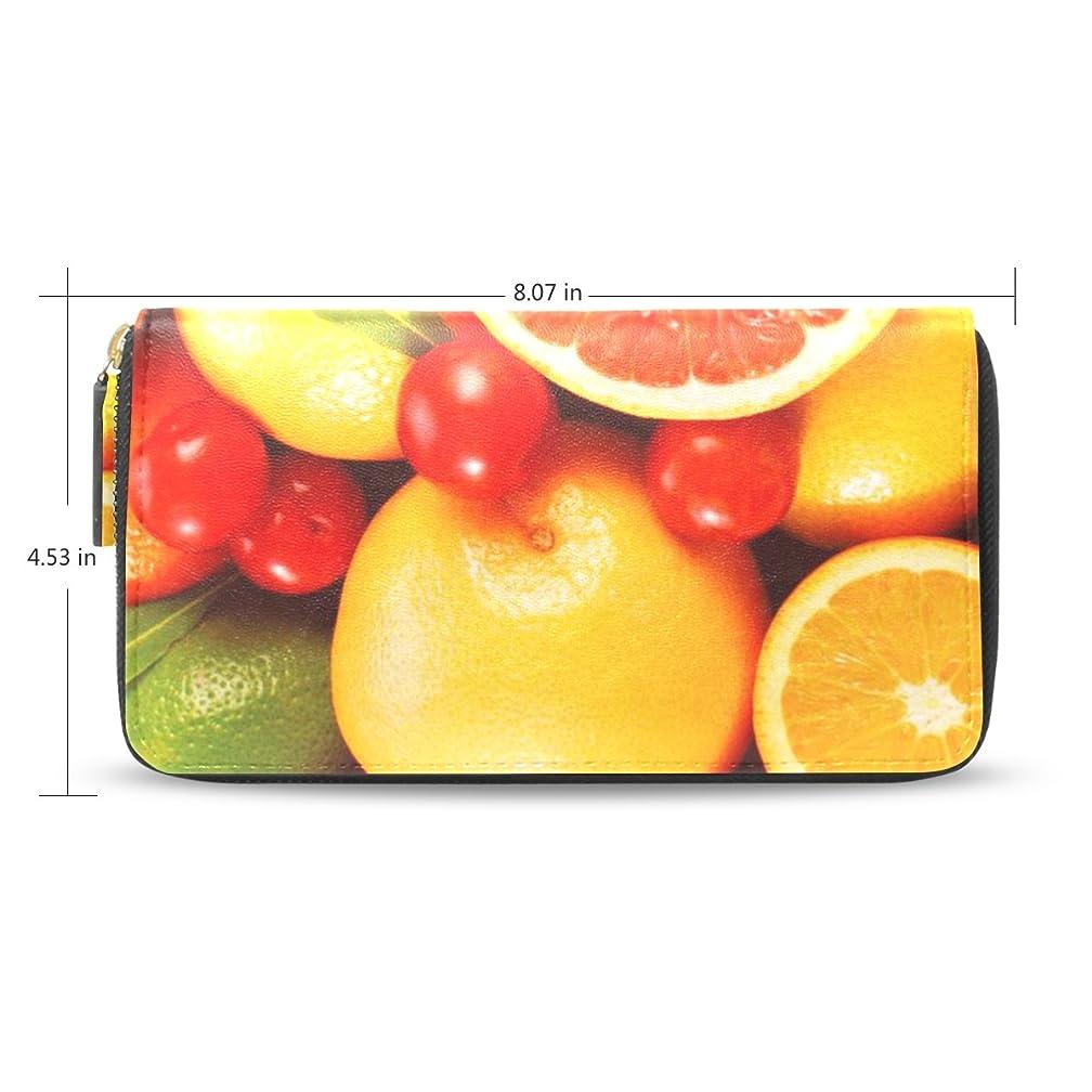 推進位置するオーナメントレディースリーフグレープフルーツオレンジパターン長財布&財布ケースカードホルダー
