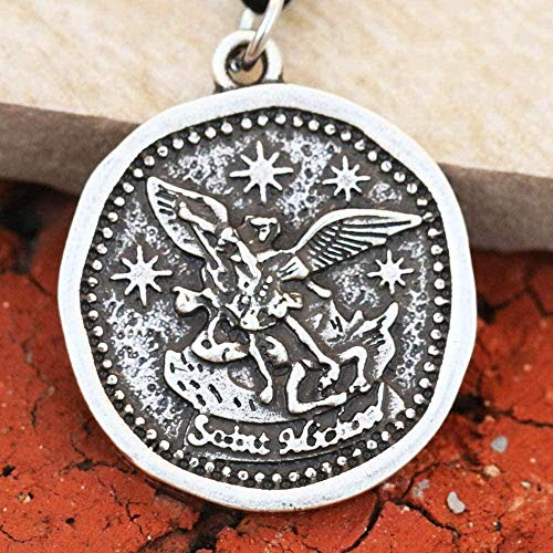 WYDSFWL Collar para Hombre Ángel de la Guarda Collar de San Miguel Medalla Catolicismo Regalo Collar de joyería de San Arcángel Parton
