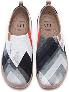 UIN Men's Sneakers Canvas Lightweight Loafers Walking Casual Slip ons Art Painted Travel Shoes On Point
