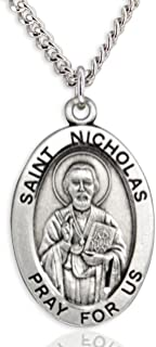 Heartland Men's Sterling Silver Oval Saint Nicholas Pendant USA Made + Chain Choice