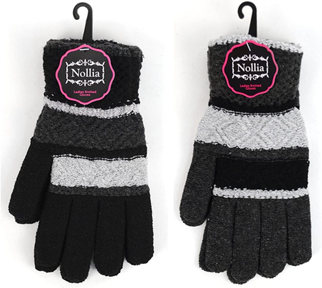 It's Still COLD Out There! Set of 2 Women's Winter Gloves~ Black & Gray Stripes~Stretchable Wrist~for Medium to Large Hands