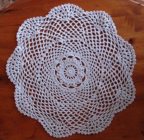 PaperLanternStore.com 11.5 Inch Round Shaped Handmade Cotton Crochet Doilies - White (2 PACK)