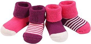 (Pack de 4) Calcetines de Bebés niñas Infantiles de Algodón Rayados Gruesos 0-6 meses 6-12 meses 1-2 años Rosa