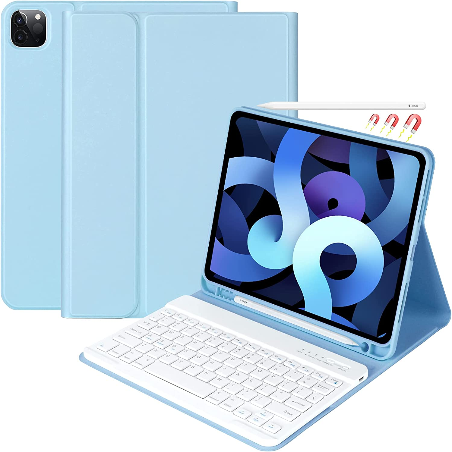 Keyboard Case for iPad Pro 11 inch 3rd Generation 2021 / iPad Pro 11-inch 2020 &2018, iPad Air 4th Gen, Detachable Bluetooth Keyboard with Pencil Holder for iPad 11 inch (1st/2nd/3rd Gen) (Sky Blue)