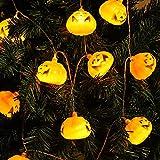 Kaijia Halloween calabaza linterna cadena luces 20 LED pilas vacaciones cadena luz 3D naranja calabaza luz interior decoración