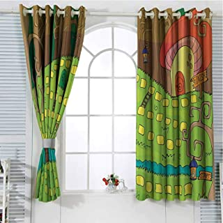 Jinguizi Grommet Window Curtain Room Darkening Curtains for Bedroom Kids Activity,Board Game Style Design of Pathway to The Mushroom House in a Magical Forest,Multicolor Window Curtains 96 x 72 inch