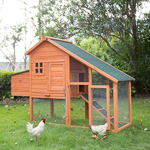 Kinbor Wooden Chicken Coop Hen House Rabbit Hutch Outdoor Backyard Garden for Small Animals with Nesting Box Run Area
