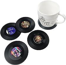 txian 4piezas alfombrilla de taza de vinilo Retro LP Record estilo posavasos antideslizante aislado café Copa Mat