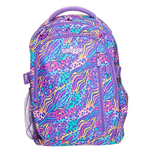 Smiggle Explore Attachable School Backpack for Girls & Boys with Laptop Compartment   Animal Print