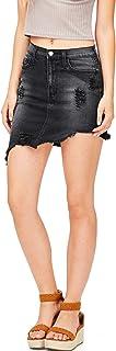 Vibrant Women's Juniors Distressed Denim Pencil Skirt
