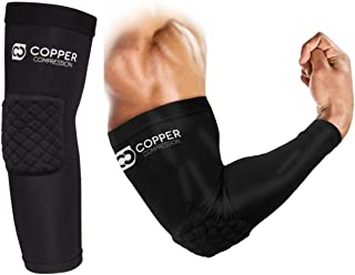 Copper Compression Elbow Pads - Padded Arm Sleeve Fit for Basketball, Volleyball, Football, Sports for Men Women Youth Boys Girls. Guaranteed Highest Copper Support Brace Padding Arms Elbows (Large)