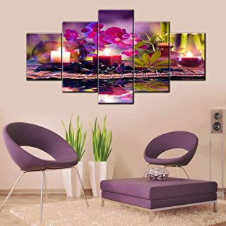 TUMOVO Zen Wall Picture Decor Bathroom Orchids and Bamboo on Water Canvas Wall Art Spa Still Life Artwork Modern Home Deco...