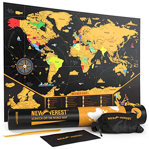 NEWVEREST Scratch Off Map of The World, Detailed Travel Art Poster, Fits 17 x 24 inches Frame, Comes...