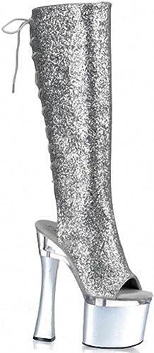 HETAO Bottes Femmes des Sandales Bout Ouvert Bottes Au Au Genou Bottes Cuissardes Sexy Argent Brillant Mode Les Bretelles Talons Hauts Grande Taille Les Les dames 18cm Chaussures Mariage Cadeau  livraison gratuite!