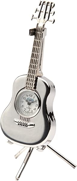 Sanis Enterprises Acoustic Guitar Clock With Stand 1 5 By 4 Inch Silver