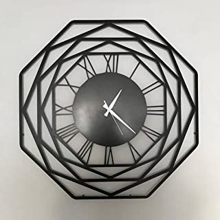 Wallcentre Art Beyond Imagination Octagon Large Metal Wall Clock for Home, Office, Living Room Decor (Black, Size: 1.5X1.5...