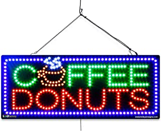 Coffee&Donut LED Window Food Sign - Extra Bright LEDs - Can Be Seen Through Tinted Windows - Extra Large - 32 inches Wide (#2761)