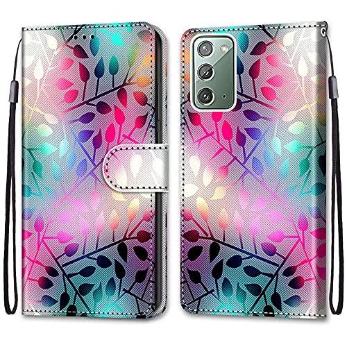 nancencen Kompatibel mit Samsung Galaxy Note 20 5G Handyhülle, PU Leder Flip Cover Wallet Hülle (Anti-Fall) Anwendbar Samsung Galaxy Note 20 5G - Bunte Blätter