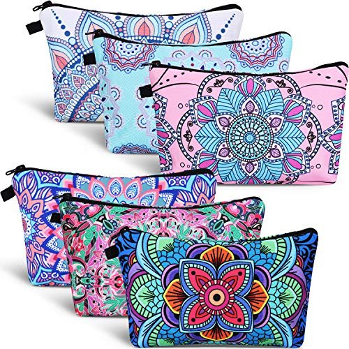 6 Pieces Makeup Bag Toiletry Pouch Waterproof Cosmetic Bag with Mandala Flowers Llama Sloth Unicorn Patterns, 6 Styles (Classic Style)