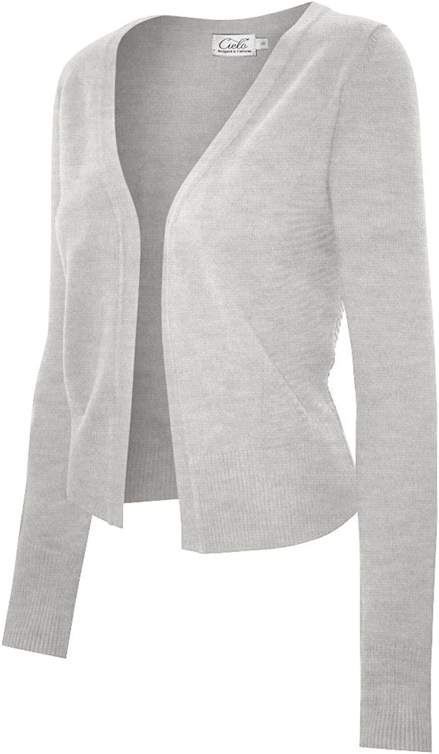 Women's Open Front Long Sleeve Knit Cropped Cardigan with Side Pannels