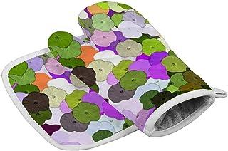 Yolocal Art Manoplas de cocina y soporte para ollas, guantes resistentes al calor para barbacoa, alimentos, asar, freír
