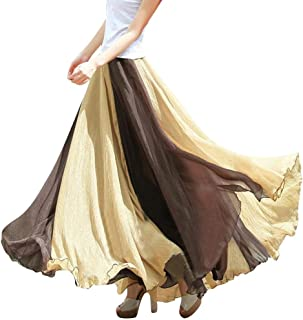 Swing Maxi Skirts for Women Vintage Boho Chiffon Elastic Waist Beach Dress
