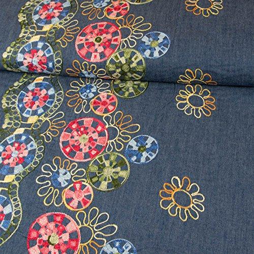 Jeansstoff einseitige Bordüre Blumen Stickerei bunt - Preis gilt für 0,5 Meter -