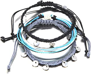 FANCY SHINY String Ankle Bracelets Waterproof Rope Charm Anklets Braided Beach Boho Coin Anklets Cute Friendship Foot Jewelry for Women Teen Girls