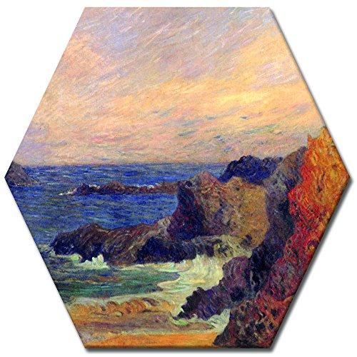 Wandbild Paul Gauguin Felsige Meerküste - 60 cm Sechseck - Alte Meister Berühmte Gemälde Leinwandbild Kunstdruck Bild auf Leinwand