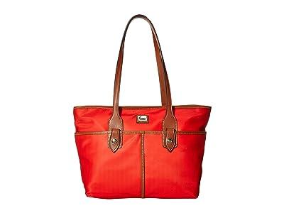 Dooney & Bourke Camden Double Pocket Tote (Red/Dark Chocolate Trim) Tote Handbags