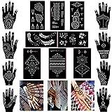 Xmasir Confezione da 16 fogli Tatuaggio all'henné con stencil/modelli Kit da tatuaggio temporaneo, adesivi indiani autoadesivi arabi con tatuaggi per la mano