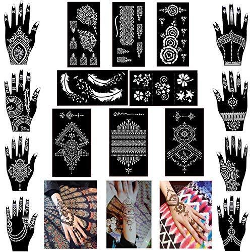Xmasir 16 Sheets Hand Shape Henna Tattoo Stencil Temporary Tattoo...