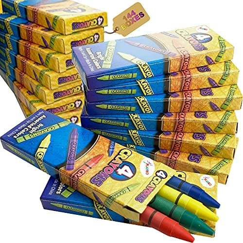 Playko 576 Crayons Bulk – Colorful 4 Pack Crayons - 144 Boxes of Crayons For Kids Ages 2-4 - Crayons for Toddlers - Small Boxes Of Crayons Bulk - Art Supplies for Teachers, Party Favors