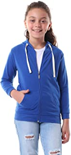 Kady Front Pockets Ribbed Trims Drawstring Zipped Hooded Cotton Jacket for Kids - Blue, 10 Years