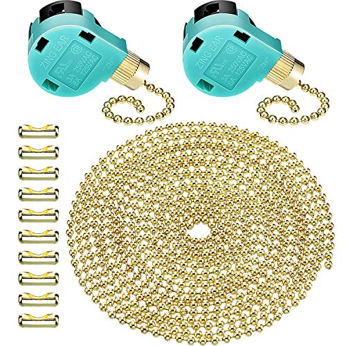 Jetec 2 Pack Ceiling Fan Switch 3 Speed ZE-268S6 and 10 Feet Beaded Pull Chain Extension with 10 Connectors for Ceiling Fans Lamps and Wall Lights (Gold Pull Chain)
