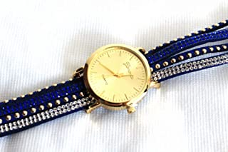 Gold Dial Crystal Paved Strap Watch Wristwatch - Blue