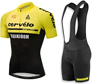Cycling Jerseys Men's Short Sleeve and Bib Shorts Set Bicycle Jersey Summer Quick Drying Breathable Jersey V36