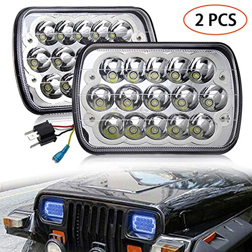 H6054 Led Headlights 7x6 5x7 Auto Head Lamp Replacement 2PCS Hi Low Sealed Beam with Blue DRL Lights Compatible with Jeep Wrangler YJ XJ Cherokee E250 Chevy Van Truck Toyota Mr2