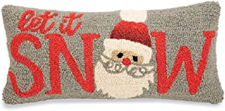 Mud Pie Christmas Let It Snow Hooked Wool Pillow
