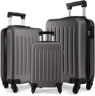 """Kono Luggage Set of 3 PCS Lightweight ABS Hard Shell Trolley Travel Case with 4 Spinner Wheels 19"""" 24"""" 28"""" Suitcases (V Gr..."""