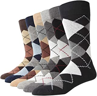 Gift Boxed Men's Dress Socks Big & Tall 6-Pack Argyle Striped Dark Color Classic Style