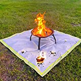 KINGXBAR Fire Pit Mat for Deck Visible at Night, Protection Grill & Patio Fire Pit Pad, Fireproof Mat, Deck Protector, Under Grill Mat for Wood Burning Fire Pit, Gas Fire Pit, Charcoal Grill 59'x 59'