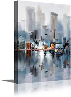 Canvas Wall Art Abstract Modern City Street View Cityscape Building Artwork Walking Wall Art for Living Room Bedroom Office Reading Room Decor