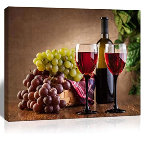 Amazon Com The Melody Art Giclee Grape And Wine Canvas Print Wall Kitchen Accessories Decorations For Living Room 12x16 In 1 Pcs Stretched Framed Posters Prints