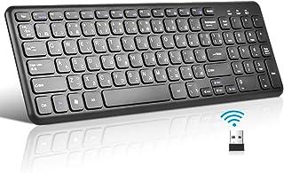 Loreranワイヤレスキーボード ウルトラスリムキーボード フルキーボード【iOS/Android/Mac/Windows/テレビ対応/長時間稼働】12ヶ月保証付き(ブラック)